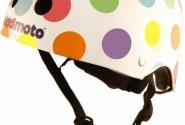 Шлем детский Kiddimoto белый в цветной горошек, размер M 53-58cm